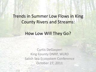 Trends in Summer Low Flows in King County Rivers and Streams:  How Low Will They Go?