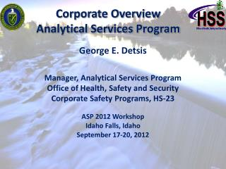 Corporate Overview   Analytical Services Program