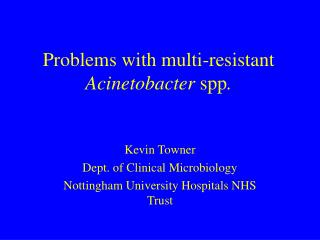 Problems with multi-resistant  Acinetobacter  spp .