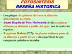 FOTOSINTESIS   RESE A HISTORICA