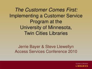 Jerrie  Bayer & Steve Llewellyn Access Services Conference 2010