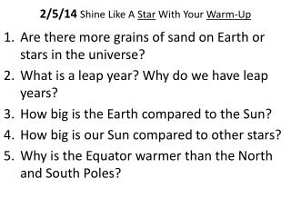 2/5/14  Shine Like A  Star  With Your  Warm-Up