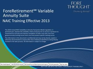ForeRetirement℠ Variable  Annuity Suite