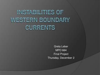 Instabilities of western boundary currents