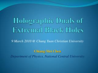 Holographic Duals of  Extremal  Black Holes