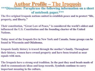 Author Profile – The Iroquois