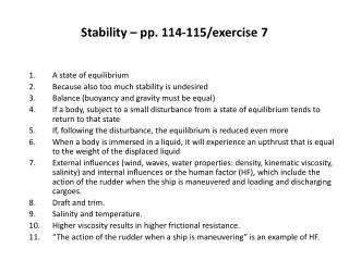 Stability – pp. 114-115/exercise 7