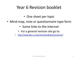 Year 6 Revision booklet