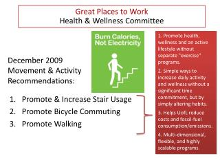 December 2009 Movement & Activity Recommendations: