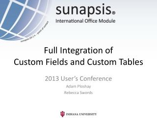 Full  Integration of  Custom  Fields  and Custom  Tables