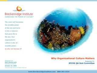 Why Organizational Culture Matters Presented To: EFCOG QA Sub-Committee