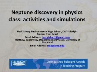 Neptune  discovery in physics class: activities  and simulations