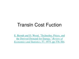 Transln Cost Fuction