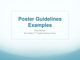 Poster Guidelines Examples