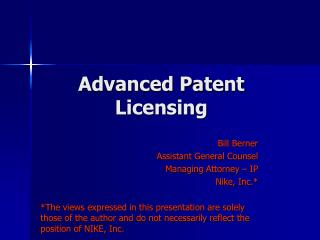 Advanced Patent Licensing