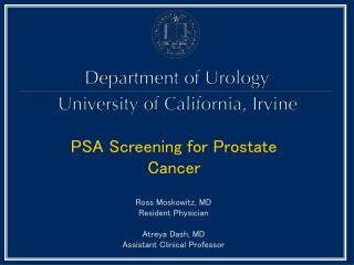 PSA Screening for Prostate Cancer
