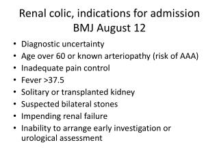 Renal colic, indications for admission BMJ August 12