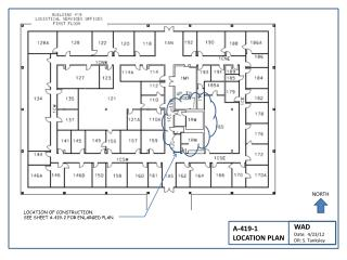 LOCATION OF CONSTRUCTION.   SEE SHEET A-419-2 FOR ENLARGED PLAN.