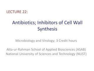 Antibiotics; Inhibitors of Cell Wall Synthesis