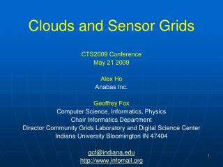 Clouds and Sensor Grids