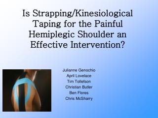 Is Strapping/Kinesiological Taping for the Painful Hemiplegic Shoulder an Effective Intervention?