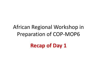 African Regional Workshop in Preparation of COP-MOP6