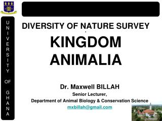 DIVERSITY OF NATURE SURVEY a KINGDOM ANIMALIA