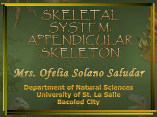 SKELETAL  SYSTEM: APPENDICULAR SKELETON
