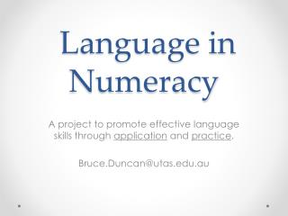 Language in Numeracy