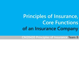 CM20430 Principles of  Insurance Team B