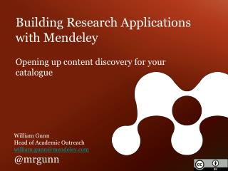 Building Research Applications with Mendeley