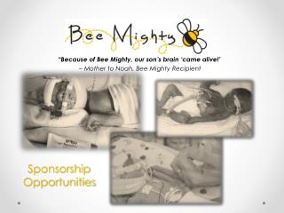 """Because of Bee Mighty, our son's brain 'came alive!'  – Mother to Noah, Bee Mighty Recipient"