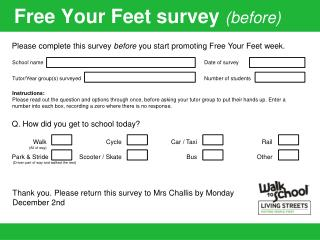 Free Your Feet survey  (before)