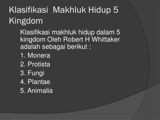 Klasifikasi Makhluk Hidup  5 Kingdom