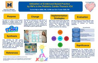 Utilization of  Evidenced Based Practice by RN's in the  Pediatric Cardio -Thoracic ICU