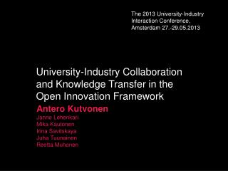 University-Industry Collaboration and Knowledge Transfer in the Open Innovation Framework
