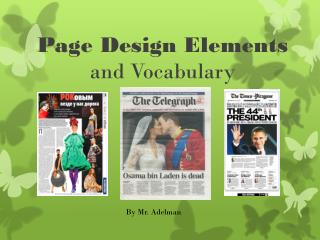 Page Design  Elements and Vocabulary
