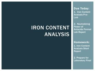Iron Content Analysis