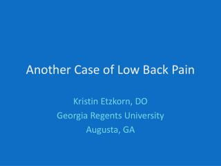Another Case of Low Back Pain