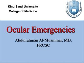 Ocular Emergencies