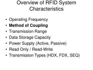 Overview of RFID System Characteristics