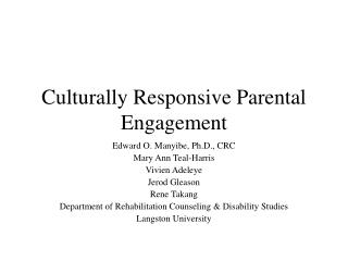 Culturally Responsive Parental Engagement