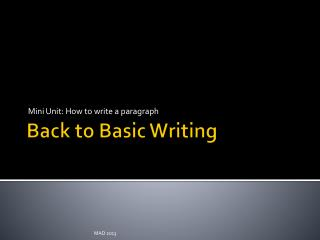 Back to Basic Writing