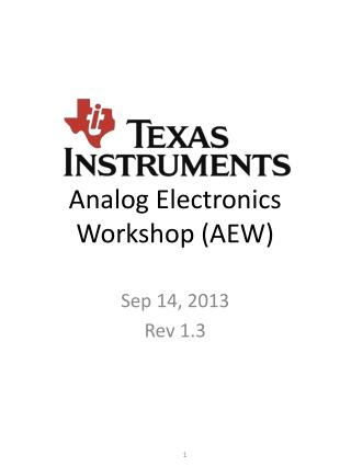 Analog Electronics Workshop (AEW)