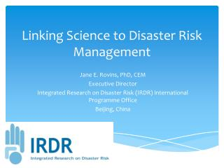 Linking Science to Disaster Risk Management