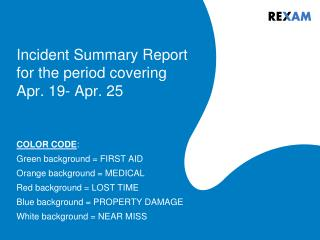 Incident Summary Report for the period covering Apr. 19- Apr. 25