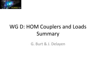 WG D: HOM Couplers and Loads Summary