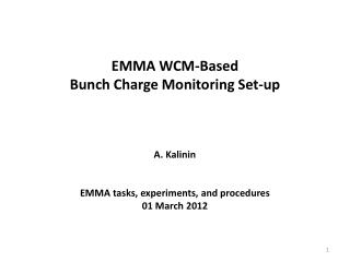 EMMA WCM-Based  Bunch Charge Monitoring Set-up