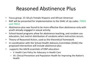 Reasoned Abstinence Plus