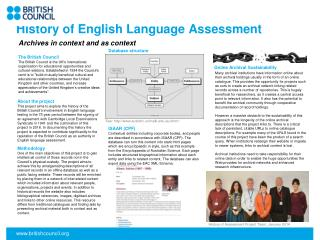 History of English Language Assessment